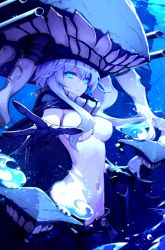 1girl blue_eyes bodysuit breasts cape covered_navel hat highres hwansang kantai_collection large_breasts long_hair outstretched_hand shinkaisei-kan silver_hair solo wo-class_aircraft_carrier
