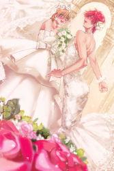 1boy 1girl blush bouquet bridal_veil crossdressing dress dutch_angle flower gekkan_shoujo_nozaki-kun hair_flower hair_ornament highres mikoshiba_mikoto orange_hair purple_eyes red_eyes red_hair red_rose rinoko rose sakura_chiyo veil wedding_dress white_rose