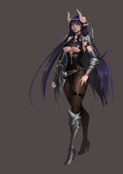 1girl absurdres armor armored_boots bangs bare_shoulders belt black_leotard boots breasts brooch brown_background brown_legwear demon_girl demon_horns eyelashes full_body gauntlets gem greaves groin hand_on_hip high_heel_boots high_heels highleg highleg_leotard highres horns jewelry karmiel leotard lipstick long_hair looking_at_viewer makeup medium_breasts nose original pantyhose pauldrons pointy_ears purple_hair red_lips red_lipstick shoulder_pads simple_background sleeveless slit_pupils solo standing strap teeth thigh_strap underboob underboob_cutout very_long_hair yellow_eyes