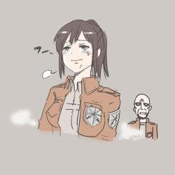 1boy 1girl breasts brown_background brown_hair dokuro-san_(artist) jacket keith_shadis medium_breasts ponytail sasha_braus shingeki_no_kyojin short_hair surprised