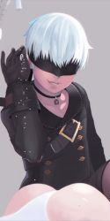 1boy 1girl animated arm_at_side ass bag black_choker black_gloves black_jacket black_legwear black_shorts blindfold brown_legwear buckle buttons choker collarbone commentary covered_eyes elbow_gloves gloves grey_background grin hand_up highleg highleg_leotard huge_filesize jacket katana knee_up kneehighs leotard lips long_sleeves lying male_focus meme mole mole_on_ass nier_(series) nier_automata nose on_stomach open_mouth out_of_frame parody pink_lips pouch salt salt_bae_(meme) short_hair shorts simple_background smile solo strap sword tassel teeth thighhighs thong thong_leotard ugoira weapon weapon_on_back white_hair white_leotard yorha_no._2_type_b yorha_no._9_type_s