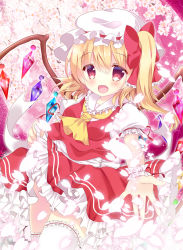 1girl bangs blonde_hair bow crystal dress eyebrows_visible_through_hair fang flandre_scarlet hair_between_eyes hair_bow hat hat_ribbon looking_at_viewer mob_cap open_mouth outstretched_arm pink_bow puffy_short_sleeves puffy_sleeves red_dress red_eyes ribbon rika-tan_(rikatantan) short_sleeves side_ponytail smile solo thighhighs touhou wavy_hair white_legwear wings wrist_cuffs