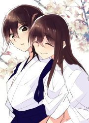 2girls akagi_(kantai_collection) brown_eyes brown_hair cherry_blossoms commentary_request eyes_closed flower hair_between_eyes hakama head_on_another's_shoulder hug hug_from_behind japanese_clothes kaga_(kantai_collection) kantai_collection looking_at_another multiple_girls outdoors side_ponytail smile straight_hair takamachiya yuri