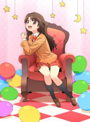 1girl :d balloon blazer blush brown_eyes brown_hair chair half_updo haniwa_(leaf_garden) idolmaster idolmaster_cinderella_girls long_hair looking_at_viewer open_mouth school_uniform shimamura_uzuki side_ponytail sitting skirt smile solo