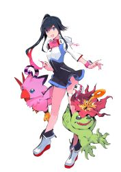 1girl absurdres bird black_dress black_hair blue_eyes boots claws creature digimon digimon_world_-next_0rder- dress flower flower_on_head full_body goggles goggles_around_neck green_eyes high_ponytail highres holster multicolored_dress multicolored_hair official_art open_mouth palmon pink_wristband piyomon plant ponytail pouch purple_eyes shiki_(digimon_world_-next_0rder-) short_dress sleeves_past_elbows smile streaked_hair taiki_(luster) teeth thigh_holster tongue transparent_background white_boots white_dress wristband