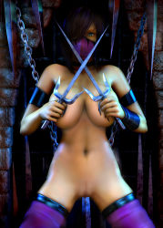 1girl 3d breasts highres mileena mortal_kombat nipples pussy rgbabes uncensored