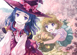 2girls :d asahina_mirai blonde_hair blue_skirt bow broom broom_riding cherry_blossoms hat hat_bow long_hair mahou_girls_precure! multiple_girls open_mouth pink_shoes plaid plaid_bow precure purple_eyes purple_hair red_hat red_skirt riko_(mahou_girls_precure!) shirt shoes short_hair skirt smile tree white_shirt witch_hat yakka