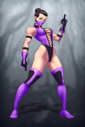 1girl athletic black_hair breasts dual_wielding green_eyes josef_axner large_breasts mileena mortal_kombat solo