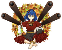 1girl alternate_eye_color amida_murasaki anklet arm_rest autumn_leaves barefoot black_skirt blue_hair breasts feet hand_on_own_thigh jewelry large_breasts layered_clothing layered_skirt leaf_print leg_up long_skirt long_sleeves looking_at_viewer mirror onbashira pinecone red_shirt red_skirt rope shimenawa shirt short_hair short_sleeves simple_background sitting skirt smirk solo touhou white_background white_shirt yasaka_kanako yellow_eyes