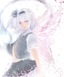 1girl butterfly_wings collared_shirt cowboy_shot disintegration frilled_skirt frills from_side hairband highres konpaku_youmu konpaku_youmu_(ghost) light_smile lips looking_to_the_side nose open_clothes open_vest ribbon ribbon-trimmed_sleeves ribbon_trim short_hair short_sleeves signature silver_eyes silver_hair skirt solo touhou triangle vest white_background wings