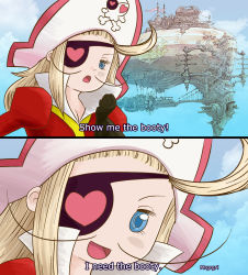 blonde_hair blue_eyes blush bravely_default:_flying_fairy edea_lee eyepatch heart looking_at_viewer pirate_hat
