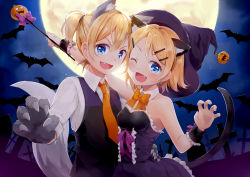>:d 1boy 1girl :d animal_ears bat blonde_hair blue_eyes bow cat_ears cat_tail claw_pose collared_shirt detached_collar dress fang full_moon gloves graveyard halloween hat jack-o'-lantern kagamine_len kagamine_rin moon natsu_(natume0504) necktie one_eye_closed open_mouth ponytail shirt short_hair smile tail vest vocaloid wand white_shirt witch_hat wolf_ears wolf_tail wrist_cuffs