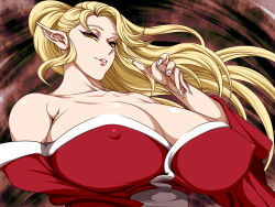 1girl bare_shoulders breasts brown_eyes byunei cleavage erect_nipples female from_below ginnyo highres huge_breasts japanese_clothes long_fingernails long_hair long_ponytail looking_at_viewer milf ponytail romancing_saga_3 saga smirk solo upper_body yukata