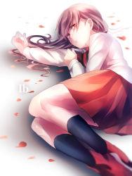 1girl brown_hair character_name copyright_name highres ib ib_(ib) long_hair lying petals red_eyes skirt tears xxxka66
