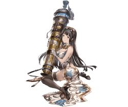 alternate_costume bangs bazooka belt black_eyes black_hair blunt_bangs breasts china_dress chinese_clothes dress gloves goggles goggles_on_head granblue_fantasy high_heels holding_weapon huge_weapon jessica_(granblue_fantasy) large_breasts long_hair minaba_hideo open-back_dress sitting smile strap tassel thighhighs weapon