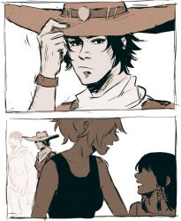 2boys 2girls bandanna beanie child comic commentary cowboy_hat hat mccree_(overwatch) mercy_(overwatch) multiple_boys multiple_girls overwatch papabay pharah_(overwatch) ponytail reaper_(overwatch) sepia silent_comic tank_top teenage upper_body white_background younger