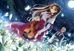 1boy 1girl archer blue_eyes brown_hair butler butterfly child dutch_angle fate/stay_night fate_(series) field flower flower_field formal full_moon gloves instrument jiji_(381134808) lily_(flower) moon suit time_paradox tohsaka_rin two_side_up violin