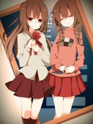 2girls bow braid brown_eyes brown_hair door eyes_closed flower happy ib ib_(ib) kneehighs knife long_hair multiple_girls painting_(object) pullover red_rose rose shirt skirt smile twin_braids uiyuzu_(uichoco) yume_nikki