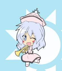 1girl blue_background blue_eyes blush_stickers chibi dress female hat instrument long_sleeves looking_at_viewer merlin_prismriver open_mouth senba_chidori simple_background solo standing standing_on_one_leg sun touhou trumpet white_hair wink