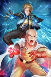 2boys bald black_sclera blonde_hair bodysuit cape clenched_hand cyborg freeze-ex genos gloves glowing glowing_eyes incoming_punch male_focus multiple_boys one-punch_man open_mouth pants red_gloves saitama_(one-punch_man) short_hair sleeveless sleeveless_hoodie superhero yellow_eyes