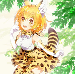 1girl :d animal_ears arm_at_side armpits bare_shoulders belt bow bowtie breasts brown_belt clenched_hands cross-laced_clothes elbow_gloves eyebrows_visible_through_hair eyelashes gloves hair_between_eyes hand_up kemono_friends light_brown_eyes looking_at_viewer medium_breasts open_mouth orange_hair outdoors paw_pose peco19peco plant sandstar serval_(kemono_friends) serval_ears serval_print serval_tail shiny shiny_hair shirt short_hair skirt sleeveless sleeveless_shirt smile solo striped_tail tail tareme teeth thighhighs white_shirt wind zettai_ryouiki