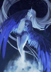 1girl absurdly_long_hair bird_wings blue blue_eyes blue_wings feathered_wings feathers flying horn long_hair looking_at_viewer looking_to_the_side monster_girl navel night night_sky pixiv_fantasia pixiv_fantasia_fallen_kings silver_hair sky small_breasts solo star_(sky) starry_sky stomach very_long_hair wings y_in