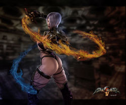 1girl 3d absurdres ass blue_eyes breasts choker fire flame highres image_sample isabella_valentine jewelry legs leotard lipstick makeup pauldrons purple_hair purple_legwear ruyueyoufei sideboob single_gauntlet solo soul_calibur soulcalibur_iv thigh_strap thighs toned underboob whip_sword