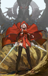 1girl absurdres argenta armor arms_at_sides belt black_boots boots breasts bridal_gauntlets cloak closed_mouth creature dragon_nest dress dress_lift dual_wielding full_body glowing glowing_eyes high_heel_boots high_heels highres holding holding_sword holding_weapon hood hooded_cloak legs_apart long_hair looking_at_viewer medium_breasts red_dress red_eyes red_hood shade solo_focus standing sword thigh_boots thighhighs weapon white_hair wind wind_lift z.h.y