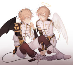 2boys angel_wings armor blonde_hair boots child closed_mouth comaco cross-laced_footwear demon_wings dual_persona frills full_body gradient gradient_background half-closed_eyes halo horns japanese_armor knees_up lace-up_boots legwear_under_shorts male_focus military_uniform monoyoshi_sadamune multicolored_hair multiple_boys open_mouth pantyhose personification shorts simple_background sitting smile sword tail touken_ranbu two-tone_hair uniform wavy_hair weapon wings yellow_eyes