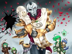 4girls anchor animal_ears armor artist_request breasts cleavage cracked_glass genderswap goggles goggles_on_head green_hair gun gun_barrel_sequence hood jhin lantern league_of_legends long_hair mask multiple_girls nautilus_(league_of_legends) navel petals potion red_eyes robe rose_petals sunglasses tail thresh twitch vilde_loh_hocen warwick weapon wolf_ears wolf_tail