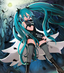 1girl black_nails black_shorts blue_eyes blue_hair breasts cleavage eyebrows_visible_through_hair fingernails from_below gorgeo grey_legwear hair_between_eyes hair_ornament hatsune_miku high_heels highres long_hair looking_at_viewer medium_breasts nail_polish short_shorts shorts sleeveless solo star thighhighs twintails very_long_hair vocaloid