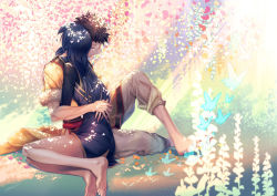 1boy 1girl amatari_sukuzakki bare_legs barefoot black_hair blue_hair cousins eudes_(fire_emblem) eyes_closed fire_emblem fire_emblem:_kakusei highres hug lucina petals spiked_hair