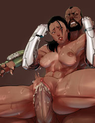 1boy 1girl beard black_hair breasts clitoris cornrows cum cum_in_pussy dark_nipples dark_skin facial_hair fat_mons father_and_daughter hetero highres incest inverted_nipples jackson_briggs jacqui_briggs john_doe mechanical_arms mortal_kombat mortal_kombat_x nipples nude sex sweat thick_thighs thighs uncensored vaginal very_dark_skin
