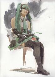 1girl full_body hatsune_miku highres misawa_hiroshi realistic rough sitting solo thighhighs traditional_media vocaloid watercolor_(medium)