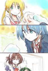 1boy 2girls ayasaki_hayate food fruit hayate_no_gotoku! hitaishou_chiritori maid maria maria_(hayate_no_gotoku!) multiple_girls sanzen'in_nagi watermelon