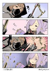 1boy 1girl 4koma akiyama_yuuji_(naruko-tei) beamed_quavers black_gloves broken chains comic emphasis_lines gameplay_mechanics gloves gran_(granblue_fantasy) granblue_fantasy hair_ornament hair_stick harbin harp harvin hood instrument mask musical_note nio_(granblue_fantasy) open_mouth pointy_ears ponytail purple_eyes purple_hair tears