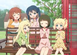 5girls :d air_0497 alice_cartelet aqua_eyes bangs belt bench black_hair black_legwear blonde_hair blue_eyes blue_hair blue_sky blunt_bangs blush bob_cut brown_skirt collarbone commentary_request day double_bun dress embarrassed eyebrows_visible_through_hair eyes_closed flat_chest food frilled_dress frills grass green_jacket hair_bun hair_ornament hair_stick hairclip hands_together holding holding_food house ice_cream ice_cream_cone inokuma_youko jacket kin-iro_mosaic komichi_aya kujou_karen laughing layered_skirt leaning_forward leaning_on_object long_hair long_sleeves looking_at_another multiple_girls oomiya_shinobu open_mouth outdoors pantyhose phone_booth pink_dress pink_shirt polka_dot polka_dot_dress purple_eyes red_hair red_skirt shirt short_hair shorts sitting skirt sky smile soft_serve strap tree twintails very_long_hair wavy_hair white_shirt window wood x_hair_ornament yellow_dress yellow_shirt