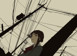 1girl asymmetrical_hair blazer bow brown_eyes brown_hair bust dutch_angle hanno iwakura_lain open_mouth power_lines school_uniform serial_experiments_lain short_hair sketch solo telephone_pole