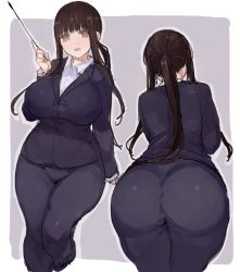 1girl ass blush breasts brown_eyes brown_hair business_suit c.cu formal huge_ass huge_breasts long_hair open_mouth ponytail smile suit teacher