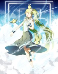 1girl animal_on_head anklet barefoot bird bird_on_head bracelet cloud floating green_hair hatsune_miku jewelry kagamine_len kagamine_rin long_hair lots_of_jewelry mio_(jian_wei) sky solo twintails very_long_hair vocaloid