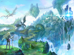 1girl armor blonde_hair bridge city cloud dragon floating_island flying glowing grass headwear_removed helmet helmet_removed highres kim_yura_(goddess_mechanic) original signature sky sword water waterfall weapon