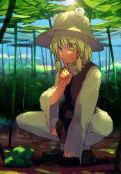 1girl blonde_hair finger_to_mouth frog grin hair_ribbon hat hichiko leaf moriya_suwako ribbon short_hair smile solo squatting thighhighs touhou yellow_eyes