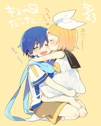 1boy 1girl barefoot blonde_hair blue_hair blush cheek_kiss dress eyes_closed heart hetero holding hug kagamine_rin kaito kiss kneehighs open_mouth scarf short_hair shorts sinaooo sitting smile text translation_request vocaloid