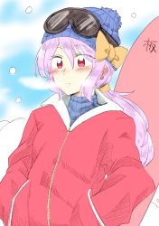 1girl beanie blush breath contemporary ear_blush ear_piercing expressionless hands_in_pockets hat hat_ribbon highres jacket mana_(gooney) piercing red_eyes ribbed_sweater ribbon sketch ski_goggles snow snowboard solo sweater touhou turtleneck upper_body watatsuki_no_yorihime