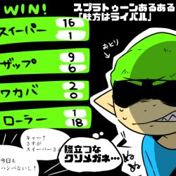 1boy angry beanie black_background blue_shirt clenched_teeth green_hair hat inkling lowres male_focus nana_(raiupika) pointy_ears shirt simple_background solo splatoon sweat t-shirt teeth translation_request upper_body