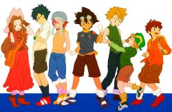 2girls 5boys backpack bag blonde_hair blue_hair brown_eyes brown_gloves brown_hair brown_shorts chokota clenched_hands digimon digimon_adventure glasses gloves goggles goggles_on_head hand_holding hat holding holding_hat ishida_yamato izumi_koushirou kido_jou lineup long_hair looking_at_another looking_at_viewer multiple_boys multiple_girls red_eyes red_hair short_hair sweatdrop tachikawa_mimi takaishi_takeru takenouchi_sora white_gloves yagami_taichi