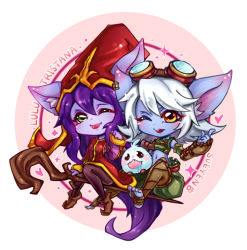 2girls :p artist_name blue_skin brown_shoes ear_piercing goggles goggles_on_head hat league_of_legends long_hair lulu midriff multiple_girls one_eye_closed piercing poro_(league_of_legends) purple_hair purple_skin shoes staff sueyen tongue tongue_out tristana very_long_hair white_hair yordle