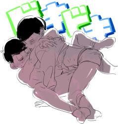 2boys backlighting black_hair blush briefs brothers denzou_(50021106) hoodie incest male_focus matsuno_choromatsu matsuno_karamatsu multiple_boys osomatsu-kun osomatsu-san shirt_lift siblings socks yaoi