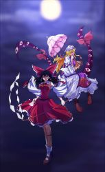 2girls alternate_eye_color backlighting between_fingers black_hair blonde_hair blue_eyes boots bow breasts brown_boots brown_shoes constricted_pupils detached_sleeves dress eyes floating floating_hair frilled_dress frills frown full_moon gap gohei hair_bow hair_tubes hakurei_reimu hat hat_ribbon highres holding holding_umbrella impossible_clothes impossible_shirt large_bow large_breasts leg_ribbon long_hair long_sleeves looking_at_another looking_at_viewer looking_down medium_breasts mob_cap moon moonlight multiple_girls night night_sky parasol red_eyes red_shirt red_skirt ribbon ribbon-trimmed_skirt ribbon-trimmed_sleeves ribbon_trim serious shirt shoes sideboob skirt sky sleeveless sleeveless_shirt smirk tabard talismans touhou umbrella very_long_hair white_dress white_legwear wide_sleeves xian_gu yakumo_yukari