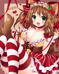 1girl animal_ears bell bell_choker bow breasts brown_hair cat_ears cat_tail choker cleavage fang food fruit green_eyes hair_bow hair_ribbon hairband heart large_breasts lolita_hairband long_hair open_clothes open_mouth open_shirt original ribbon shirt skirt smile solo strawberry striped striped_legwear tail thighhighs thighs tress_ribbon uguisu_mochi_(ykss35) undressing very_long_hair